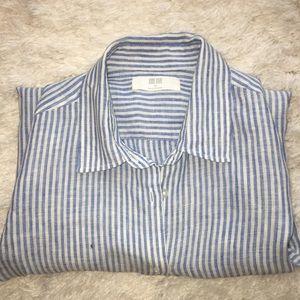 Uniqlo Blue Striped Linen Shirt xs